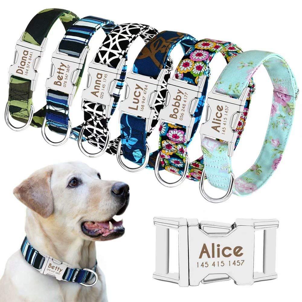 Beirui – Collar ajustable para perro con placa de identificación personalizable y hebilla de liberación rápida; para perros pequeños, medianos y grandes. Tallas S, M y L