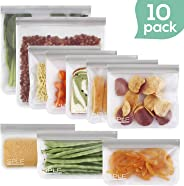 SPLF FDA Grade Reusable Storage Bags, Extra Thick Leakproof Silicone and Plastic Free Ziplock Lunch Bags Food Storage Freezer