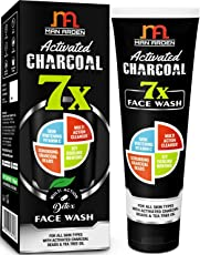 Man Arden 7X Activated Charcoal Face Wash - 100ml - Skin Whitening Vitamin C, Icy Cool Menthol & Charcoal Scrubbers