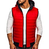 BOLF Men's Gilet with Hood Quilted Body Warmer Hooded Vest Down Vest Zip Vest Sleeveless Sports Vest Zip Warmth Leisure Outdo
