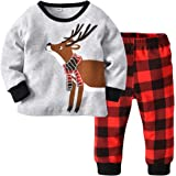 Boys and Girls Christmas Pyjamas Set Clothes Sleepwear Animal Printed Nightwear Winter Long Sleeve PJs 2 Piece Outfit Xmas Gi