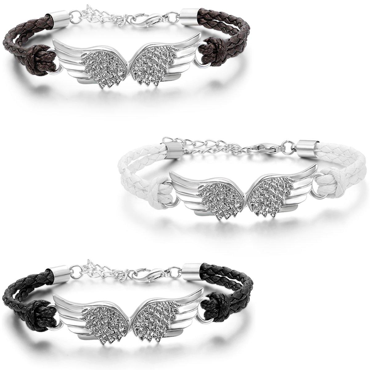 JewelryWe Schmuck 3pcs Herren Damen Armband, Ein Paar Engel Flügeln Charm Verstellbaren Größen Armreif, Leder Legierung, Schwarz Braun weiß Silber