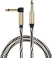 Mugig Instrumentenkabel 6.35mm E Gitarre Kabel Monokabel Piano profesionell Lärmschutz mit einseitiger gewinkelter Klinke und 1 Standard Klinke für E Bass, Schlagzeug, Saxophon ,Tasteninstrument (3m)