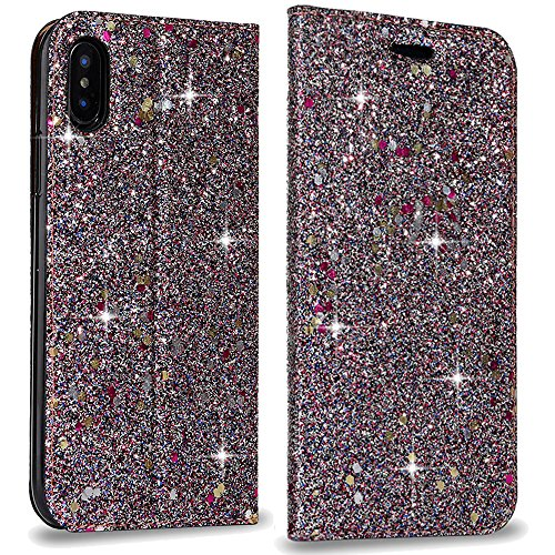 Bling Hülle for iPhone X Brieftasche Handyhülle iPhone X PU Leather Case, LAPOPNUT Luxury Shiny Sparkle Glitter Pearl Pots Pailletten Flip Folio Case Book Cover Secure Magnetisch Absorption Stand Cover with Kartenschlitz , Dark Purple (Pailletten-cover)