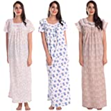 CIERGE Women's Cotton Frilled Nighty (Leaf Lace, Blue Frilled, Tiger Frilled Sleeveless) (Pack of 3)