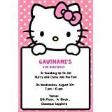 Personalized WoW Party Studio Hello Kitty Theme Birthday Party Invitation Cards with Birthday Boy/Girl Name (16 Pcs)
