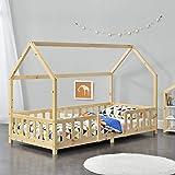 [en.casa] Lit d'enfant Design Forme Maison Construction Robuste Lit Cabane avec Grille de Protection Capacité de Charge 100 k