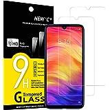 NEW'C 2 Unidades, Protector de Pantalla para Xiaomi Redmi Note 7, Redmi Note 7 Pro, Antiarañazos, Antihuellas, Sin Burbujas,