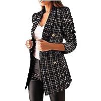MFFACAI Women's Fashion Double Breasted Blazer Parka Casual Long Sleeve Lapel Blazer Windbreaker Elegant Solid Color…