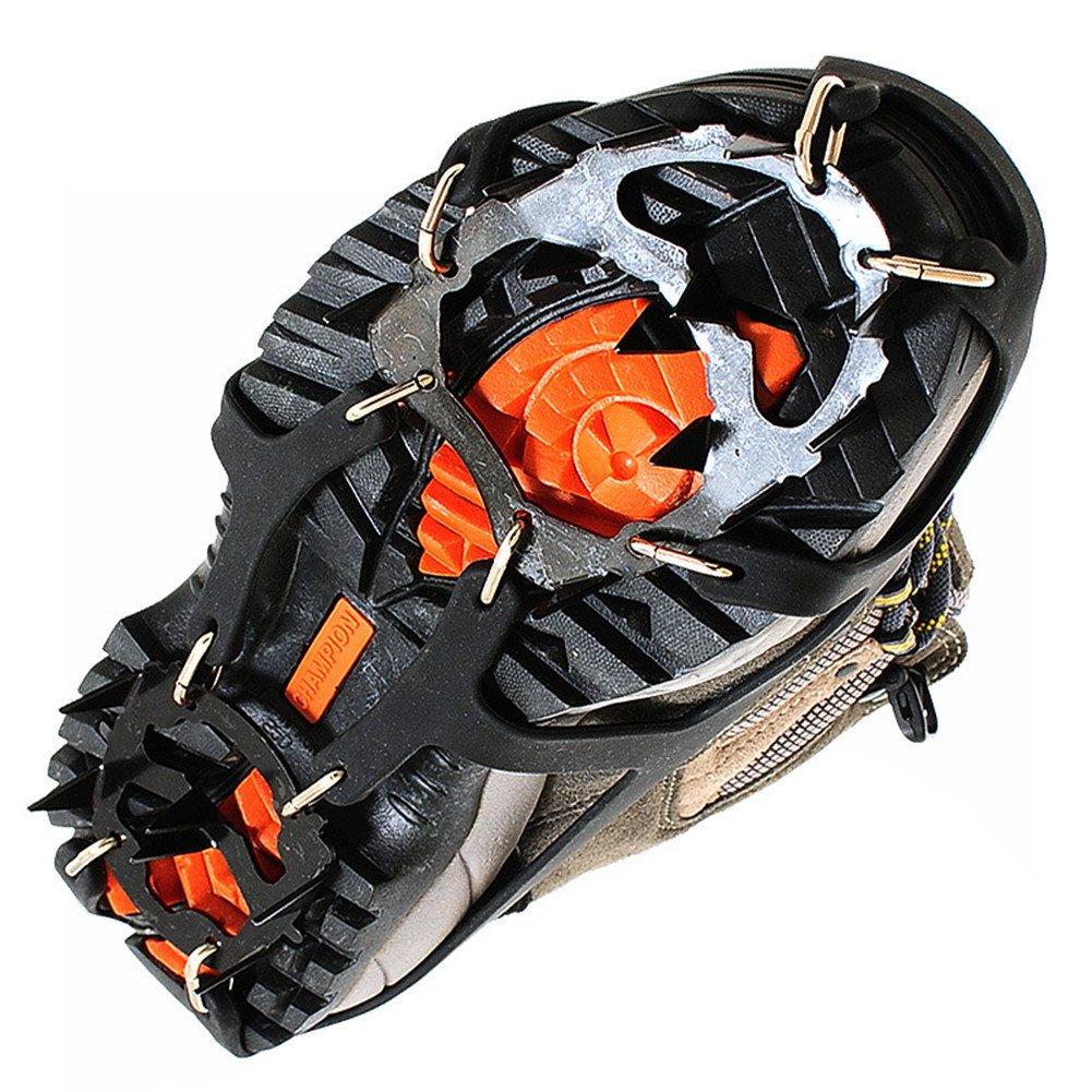 L 40-44 Kottle Ramponi universale 18 denti in acciaio Ice grip antiscivolo neve e ghiaccio trazione tacchette scarpe catene sicuro proteggono scarpe