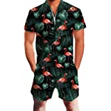 Fanient Men's Jumpsuit 3D Printed Romper Zip Front Coverall All in One Piece S-XXL