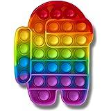 Cflagrant® Popit Fidjetoys Jeu Anti Stress Multicolore pour Enfant Filles et Garçons et pour Adultes (Robot Arc-en-Ciel)