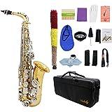 ammoon LADE Saxofón Alto Saxófono Latón Brillante Grabado Eb E-Flat Botón de Shell Blanco Natural Instrumento de Viento con l