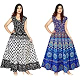 GAYATRI Fashion Cotton Rajasthani Traditional Women's Maxi Long Dress Jaipuri Printed (Free Size Upto 44-XXL) Combo of 2