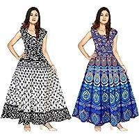 GAYATRI Fashion Women's Jaipuri Printed Cotton Rajasthani Traditional Maxi Long Dress (Free Size Upto 44-XXL) Combo of 2…