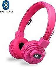 NIA Bluetooth Kopfhörer Kabellos on-Ear HiFi Stereo Kopfhoerer mit eingebautem Mikrofon für Handys Free Calling, Wireless Bluetooth Leicht Kopfhörer Kompatibel mit iPhone iPad Samsung HTC LG (Rosa)