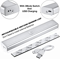 Techzere Rechargeable Motion Sensor PIR 10 LED Night Light. Stick to Wall or Any Surface. Can be Used at Closets, Bathroom, Wardrobe, Drawer, Corridor, Staircase Etc