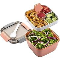 Mingcheng Lunch Box Boîte à Salade, Boîte Hermétique pour Adultes Enfants Sécurité Anti-Fuite 3 Compartiments pour…