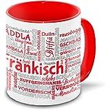 Franken-Tasse Tagcloud – weiß/rot - Tasse mit typischen Wörtern im fränkischen Dialekt
