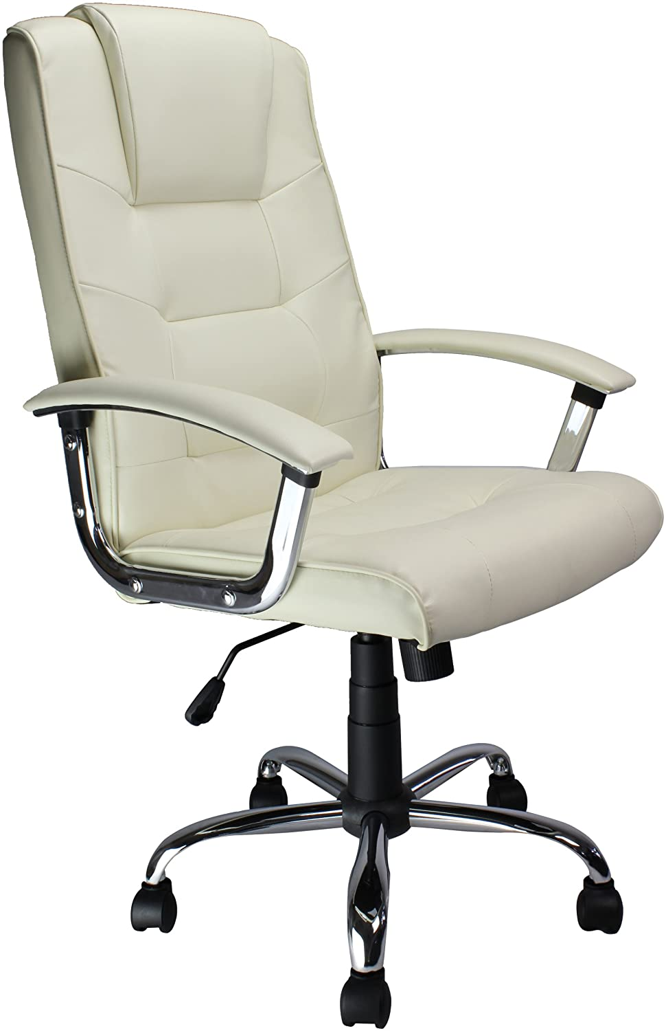 Eliza Tinsley High Back Leather Faced Executive Armchair With - Cream desk chair