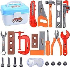 Rolanli 23er Set Werkzeugkoffer Kinder Werkzeugkoffer Spielzeug Werkzeugkoffer Reparaturwerkzeug für Kinder