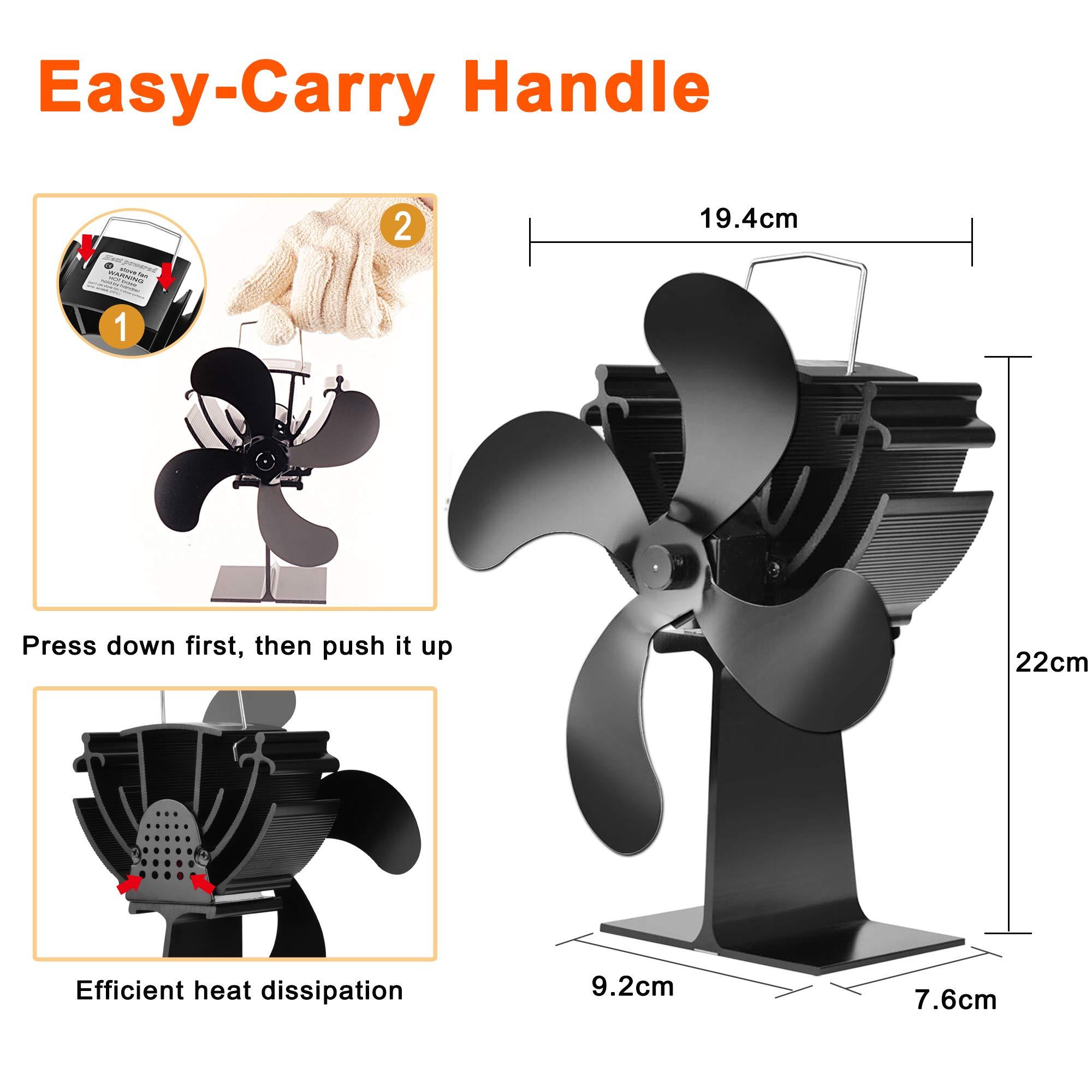 Ventilador De Chimenea Ventilador Ecol/ógico Y Eficien Ventilador De Estufa Ventiladores De Quemador De Madera De 5 Palas Ventiladores Ventiladores De Estufa Alimentados Por Calor Para Chimenea Le/ña