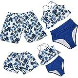 Hulaha Girls Swimwear Boy Swimming Trunks Family Matching Swimwear, Black Girl, 5-6 Years
