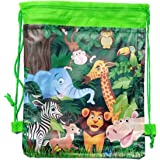 Birthday Popper Jungle Animal Theme Drawstring Bags (24 Pieces) for Outing or Picnic Kids Haversack Bags as Birthday Return G