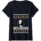 Femme VIVE LE CHRISTMAS Ugly Christmas Sweater Che Alexandria AOC T-Shirt avec Col en V