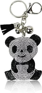 Glamexx24 Schluesselanhaenger Kristall Herzt Schuhe Panda Anhaenger mit Befestigungsring und Karabiner