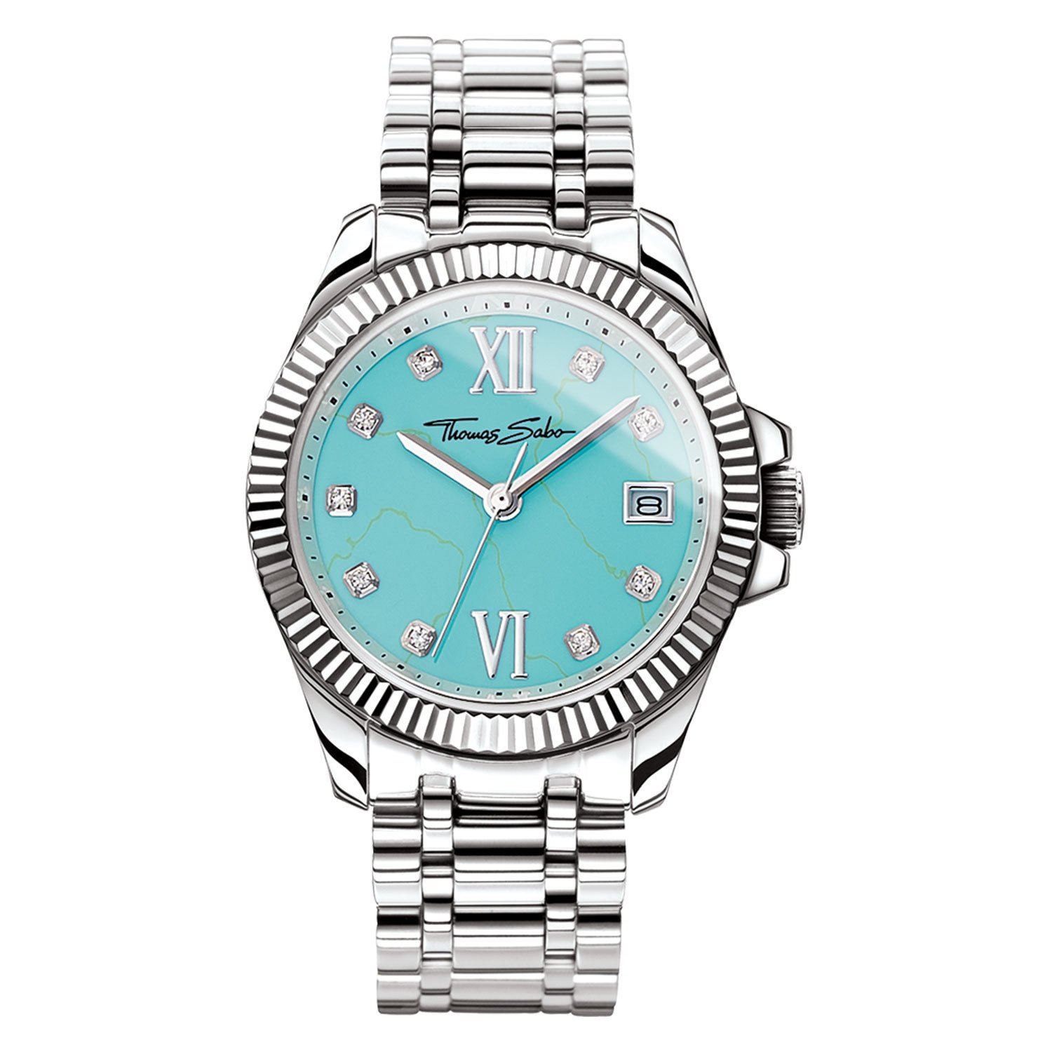 THOMAS SABO Womens Analogue Quartz Watch with Stainless Steel Strap WA0317-201-215-33 mm