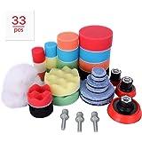 Aimocar Polijstspons kit met polijstpad voor auto, 33 stuks handpolijstpads spons wol polijstset klittenband 30 mm 50 mm 80 m