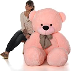 CLICK4DEAL Teddy Bear with Neck Bow, Pink (4 Feet)