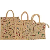 SLA Sainik Jute Shopping Grocery, Large, Medium and Small Size Multipurpose Lunch Bag with Zip (Pack of 3)