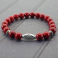 Zen braccialetto etnico Thurcolas con perline turchese rosso e perline tibetano argento placcato