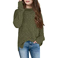 Ybenlover Girls Fuzzy Warm Sweater Crew Neck Chunky Side Slit Jumper Pullover Outwear