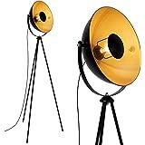 Briloner Leuchten 1380-015 Lampadaire trépied vintage - style projecteur de cinéma - abat-jour métal noir mat & or - douille