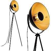 Briloner Leuchten 1380-015 Lampadaire trépied vintage - style projecteur de cinéma - abat-jour métal noir mat & or…