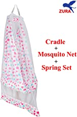 ZURA Baby Cradle Jhula Swing With Mosquito Net And Spring Set - Pink