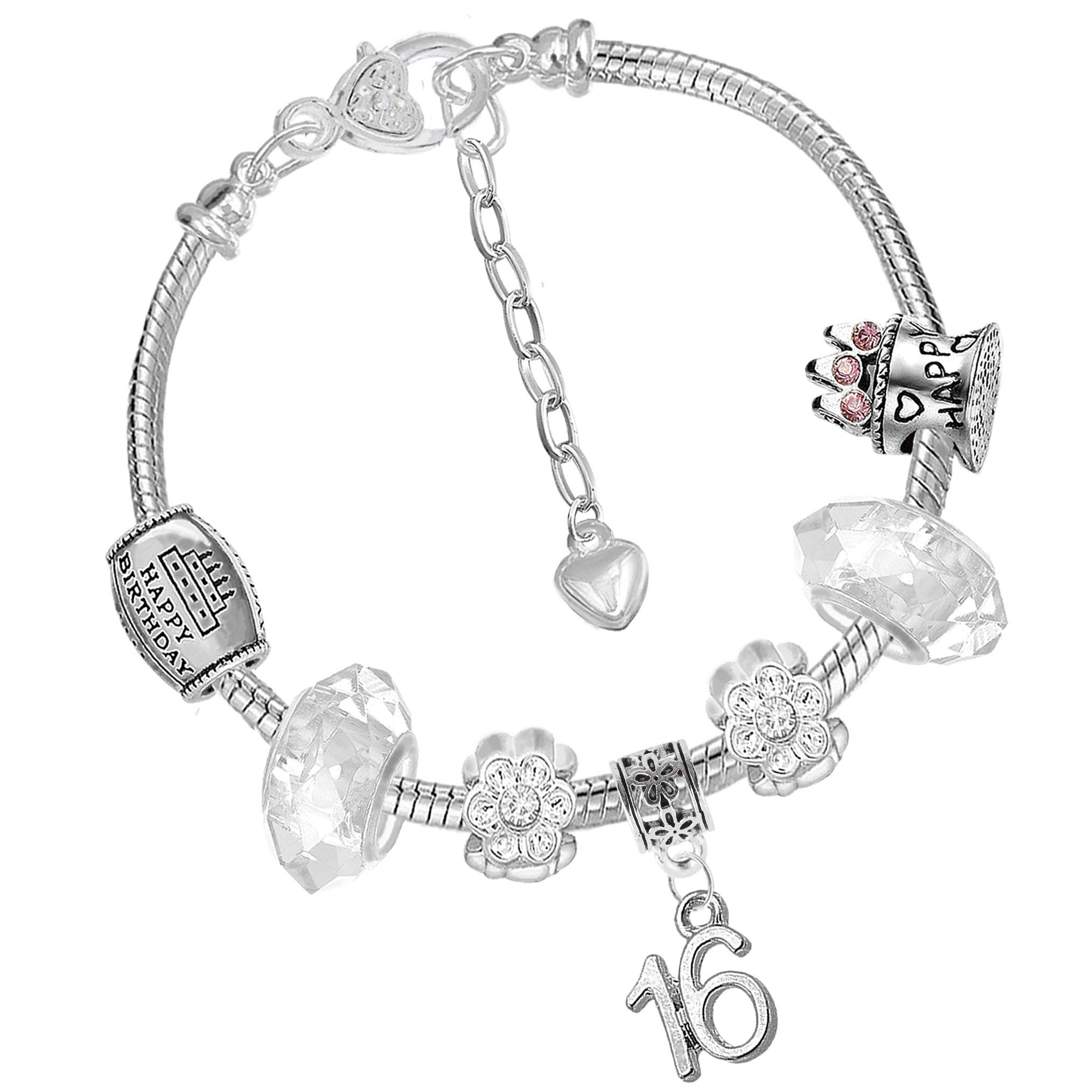 Crystal Birthday Charm Bracelet with Silver Gift Box for Women Girls Age 16th 18th 21st 30th 40th 50th 60th 70th 80th