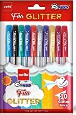 Cello Geltech Fun Glitter Gel Pen - Pack of 10 (Multicolor)