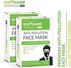 BodyGuard Reusable Anti Pollution Face Mask with Activated Carbon, N99 + PM2.5 for Men and Women - Pack of 2