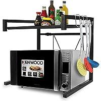 RETMI® Support extensible pour four à micro-ondes - Support pour grille-pain - Réglable - En acier au carbone - Noir