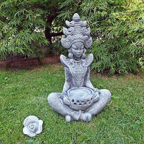 Stein BUDDHA Feng-Shui Steinfigur massiv Skulptur Garten Deko Frostfrei H-42 cm KOI massiver Steinguss