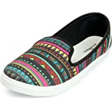 Meriggiarre Women Canvas/Fabric Slip-ons Digital Print Pattern Light Weight Casual Sneaker Shoes for Daily/Casual Wear Multic