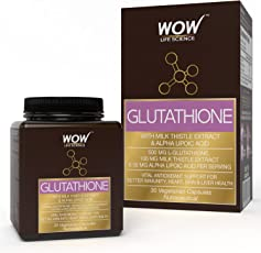 WOW Glutathione - with Milk Thistle Extract - 500mg L-Glutathione - 30 Vegetarian Capsules