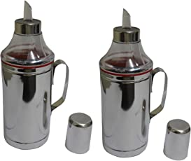 Dynore Stainless Steel Oil Dropper Set, 1 Litre, Set of 2, Silver