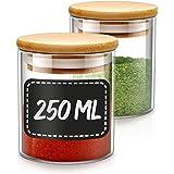 Pot a Epices en Verre - Lot de 8 Bocaux en Verre et 8 Etiquettes - 250 ml - Grand Format - Lavable au Lave-vaisselle