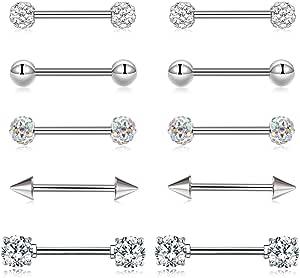 14G Piercing Capezzolo Anello Barbell Piercing Lingua Anello Acciaio inossidabile CZ Helix Cartilagine Orecchio Corpo Piercing Gioielli 16mm