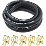 """Laixin 1/4"""" Inch Fuel Gas Line 3.28 Feet with 5 Pcs Hose Clamps for Boat Marine Outboard Gas Diesel Petrol"""